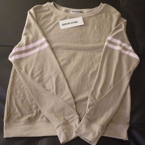 NWT Wildfox Dream Scene Tan Pink Stripe Sweatshirt